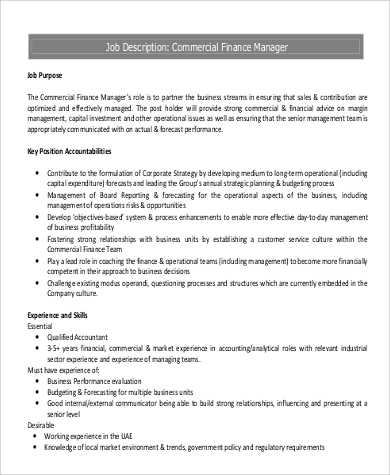 Duties and responsibilities of finance manager pdf
