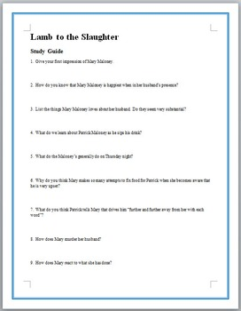 Lamb to the slaughter worksheet pdf