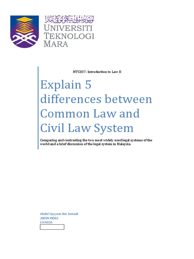 Common law legal system pdf