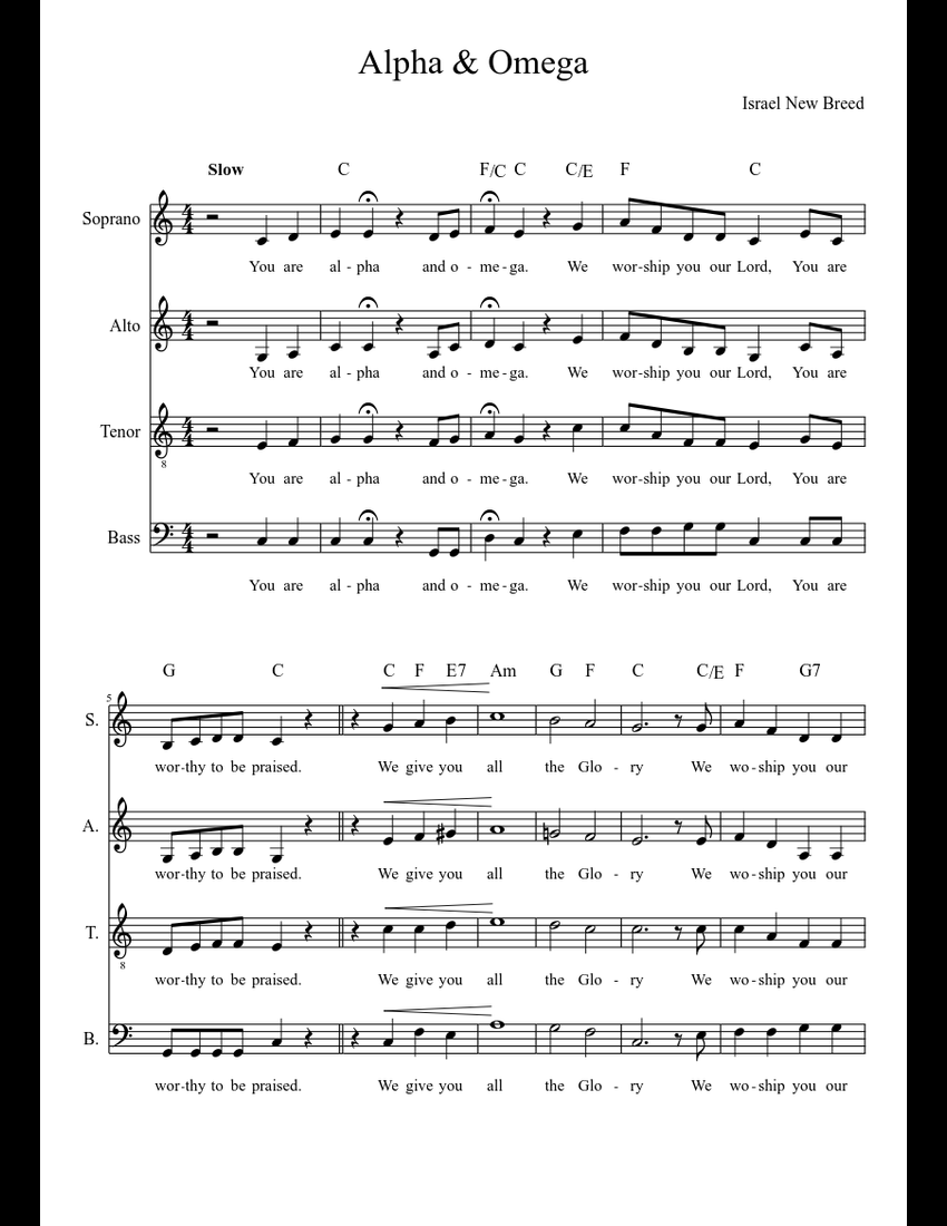 You are alpha and omega sheet music pdf