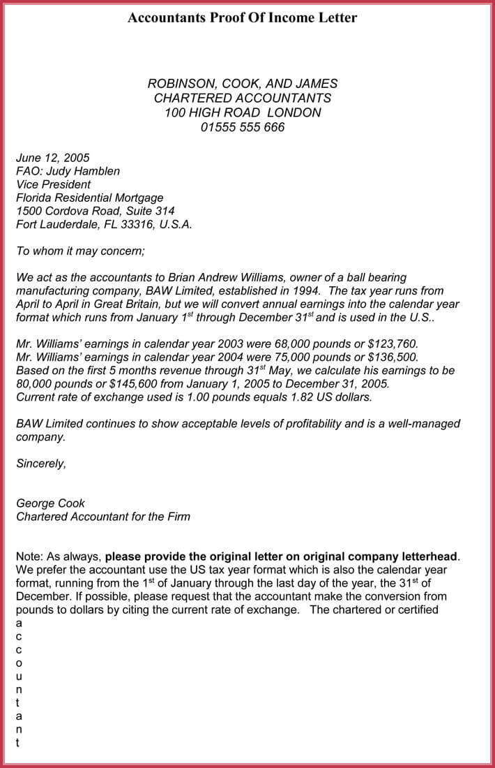 Proof of income letter pdf